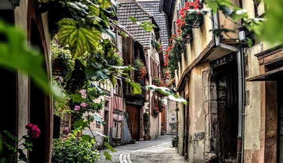 La ville de Colmar, la route des vins d'Alsace