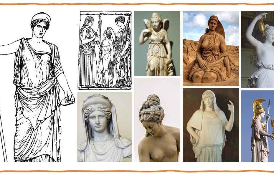 Illustration qui montre la représentation de 9 déesses grecques les plus importantes