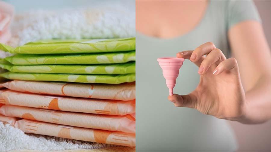 Image qui montre deux Protection hygiénique : serviettes et Cup